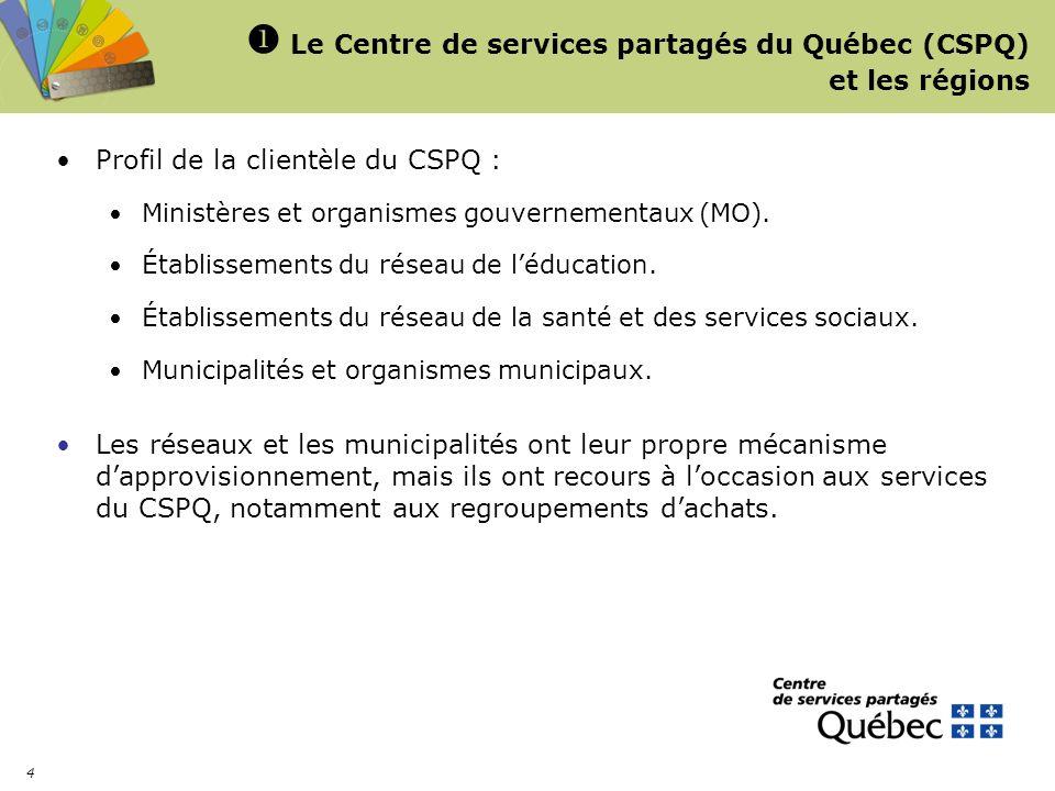 Le Centre de services partagés du Québec (CSPQ) et les régions