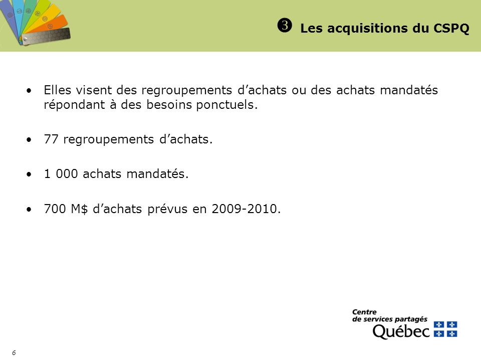 Les acquisitions du CSPQ