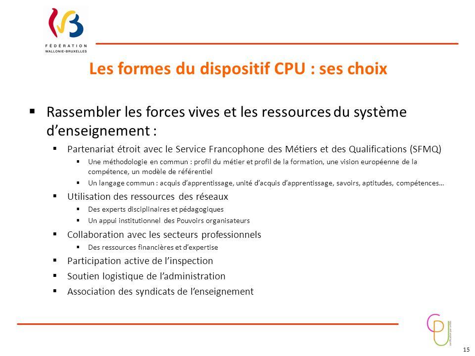Les formes du dispositif CPU : ses choix