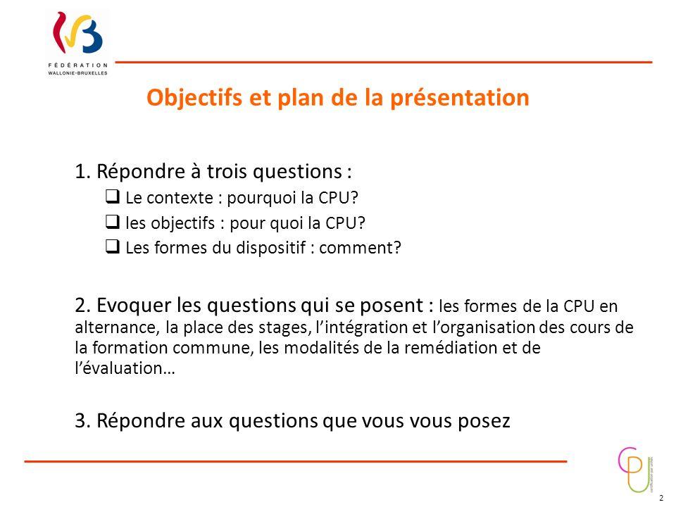 Objectifs et plan de la présentation