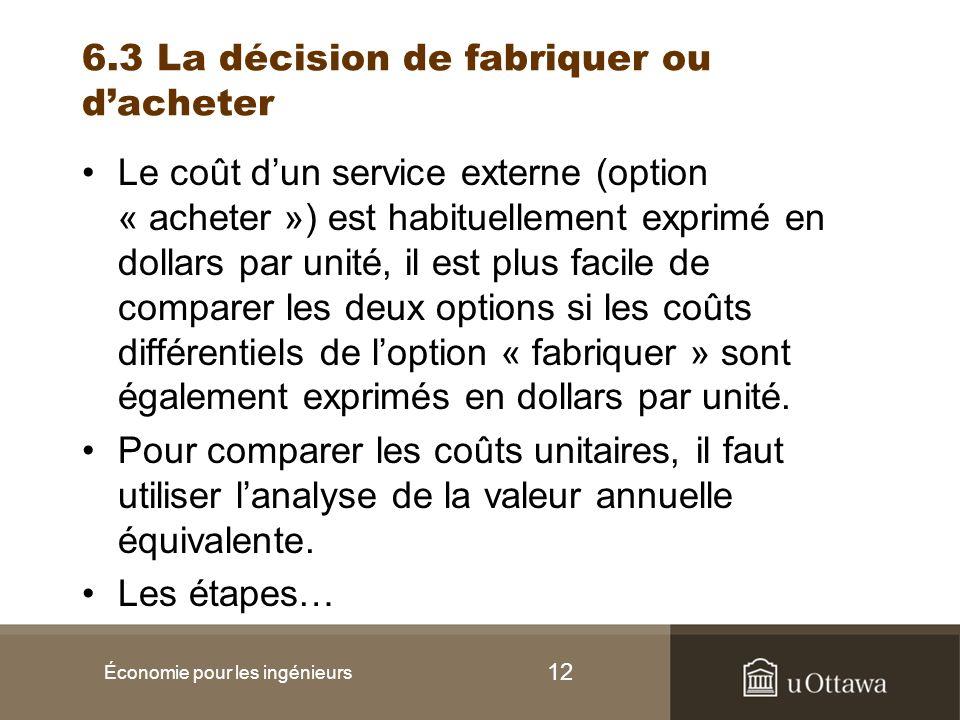 6.3 La décision de fabriquer ou d'acheter