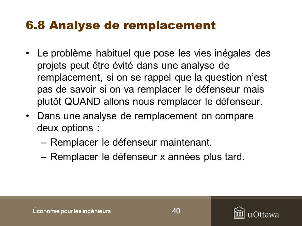 6.8 Analyse de remplacement