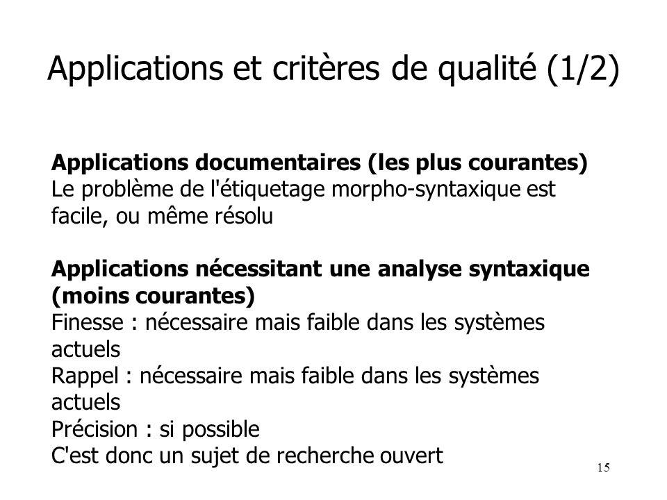 Applications et critères de qualité (1/2)