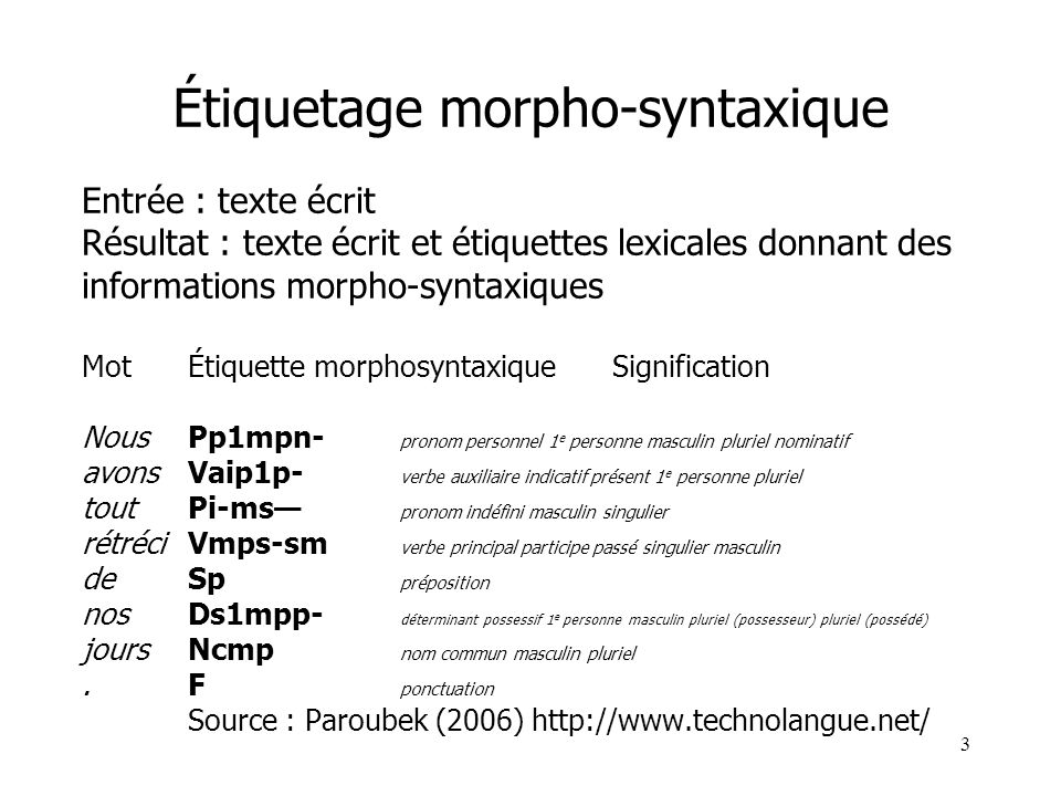 Étiquetage morpho-syntaxique