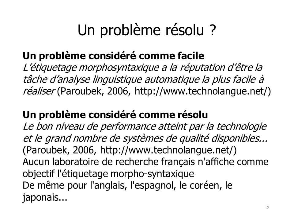 Un problème résolu Un problème considéré comme facile