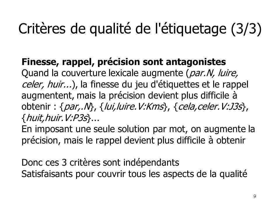 Critères de qualité de l étiquetage (3/3)