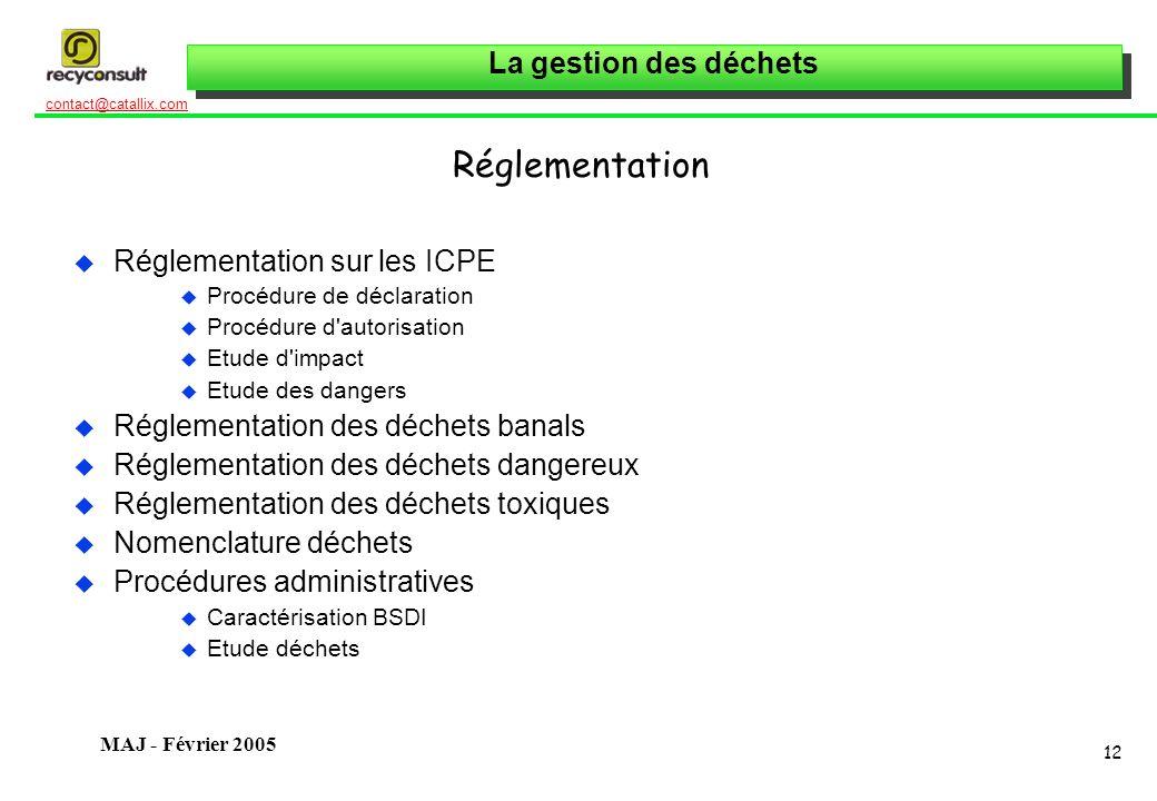 Réglementation Réglementation sur les ICPE