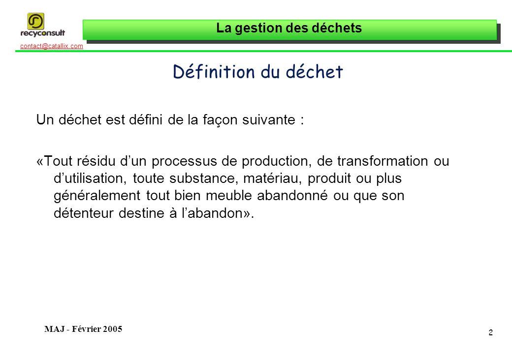 Définition du déchet Un déchet est défini de la façon suivante :