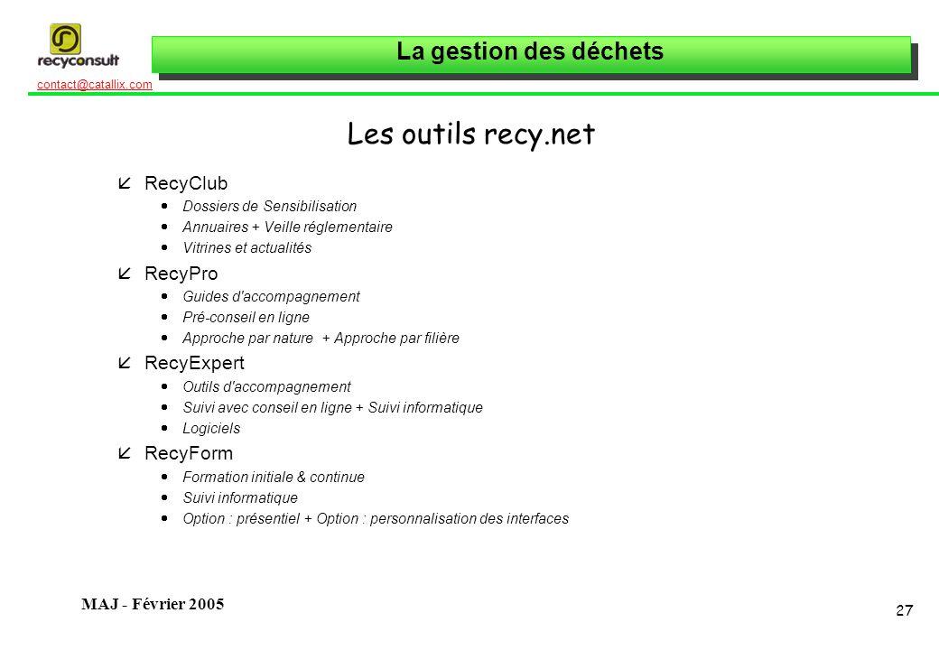 Les outils recy.net RecyClub RecyPro RecyExpert RecyForm