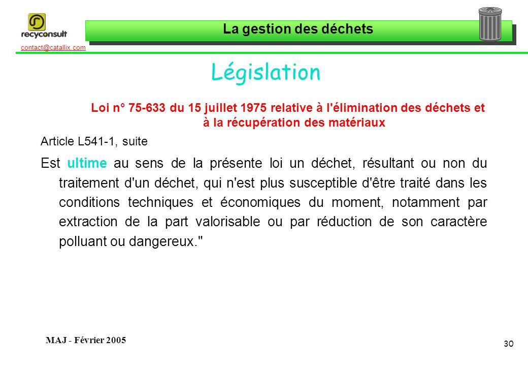 Législation Loi n° 75-633 du 15 juillet 1975 relative à l élimination des déchets et à la récupération des matériaux.