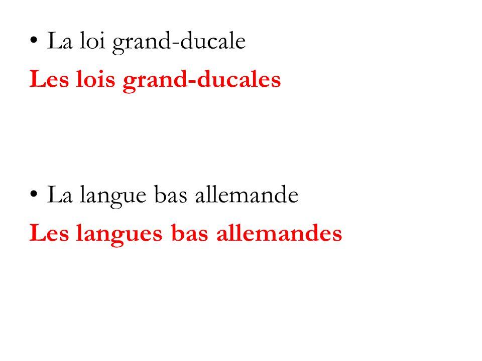 La loi grand-ducale Les lois grand-ducales La langue bas allemande Les langues bas allemandes