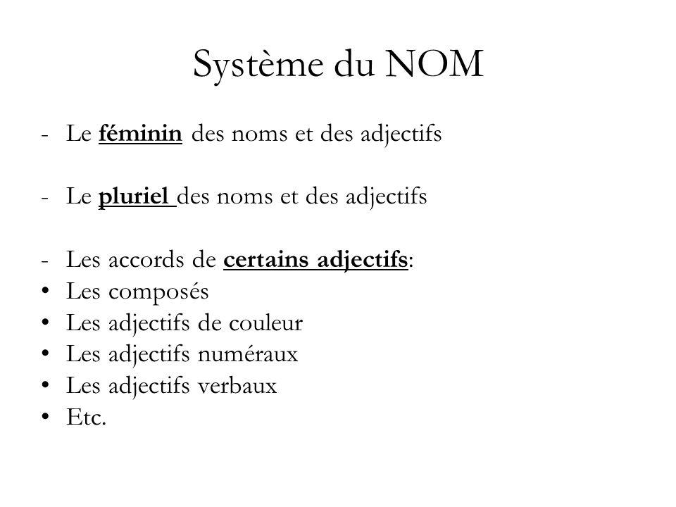Système du NOM Le féminin des noms et des adjectifs