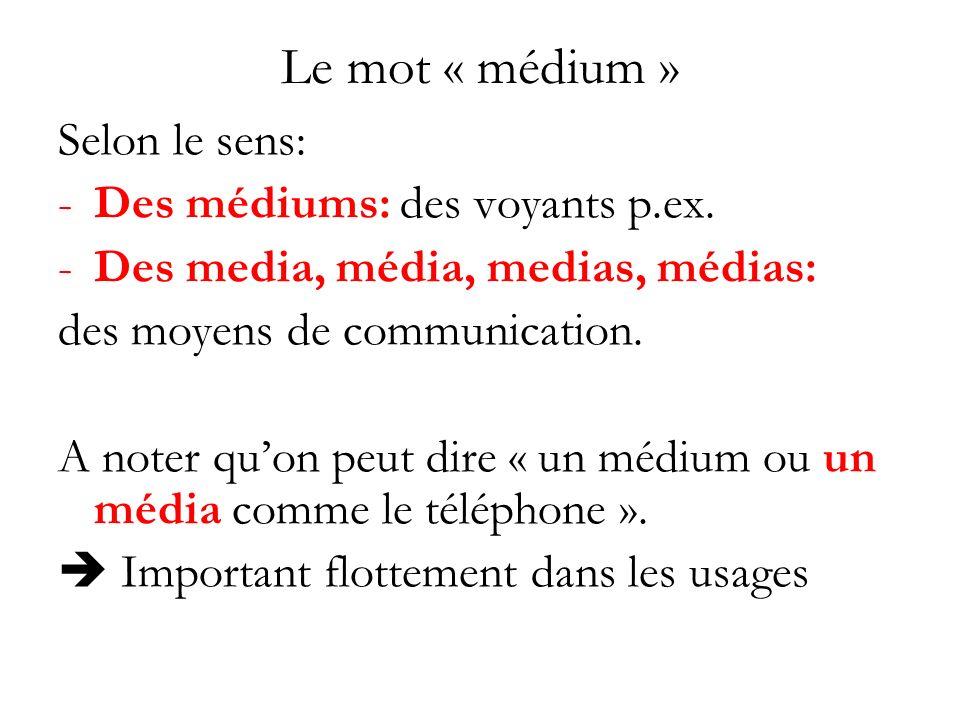 Le mot « médium » Selon le sens: Des médiums: des voyants p.ex.