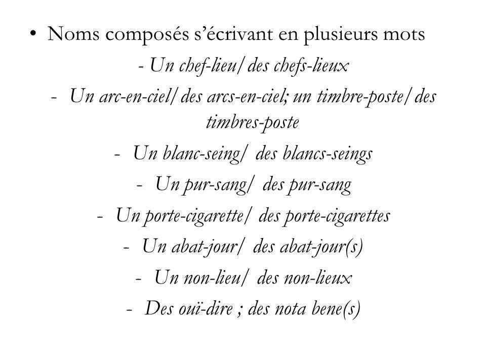 Noms composés s'écrivant en plusieurs mots