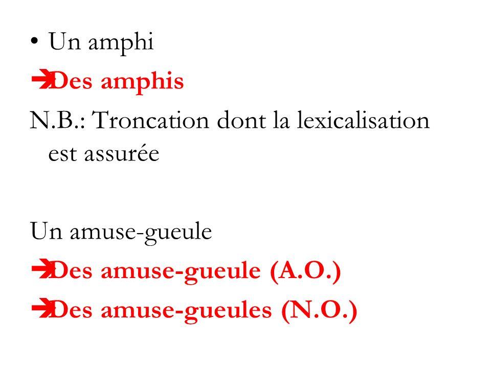 Un amphi Des amphis. N.B.: Troncation dont la lexicalisation est assurée. Un amuse-gueule. Des amuse-gueule (A.O.)