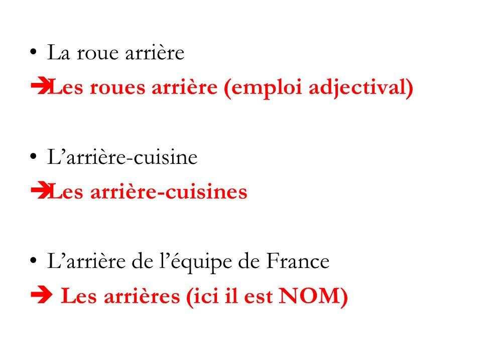 La roue arrière Les roues arrière (emploi adjectival) L'arrière-cuisine. Les arrière-cuisines. L'arrière de l'équipe de France.