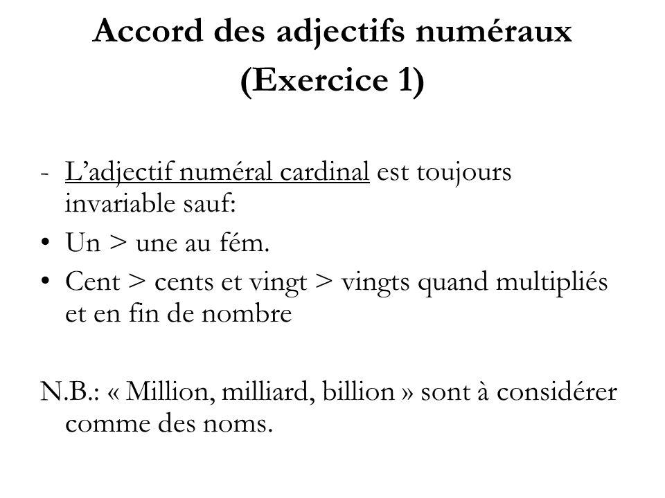 Accord des adjectifs numéraux