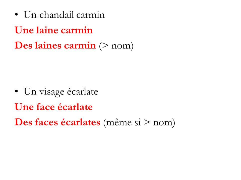 Un chandail carmin Une laine carmin. Des laines carmin (> nom) Un visage écarlate. Une face écarlate.