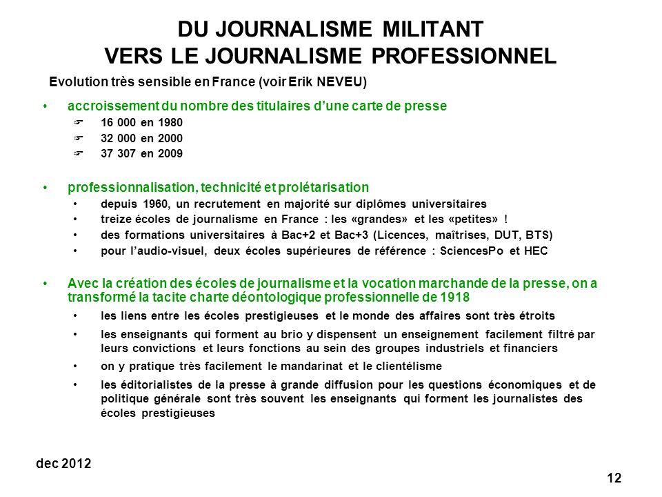 DU JOURNALISME MILITANT VERS LE JOURNALISME PROFESSIONNEL