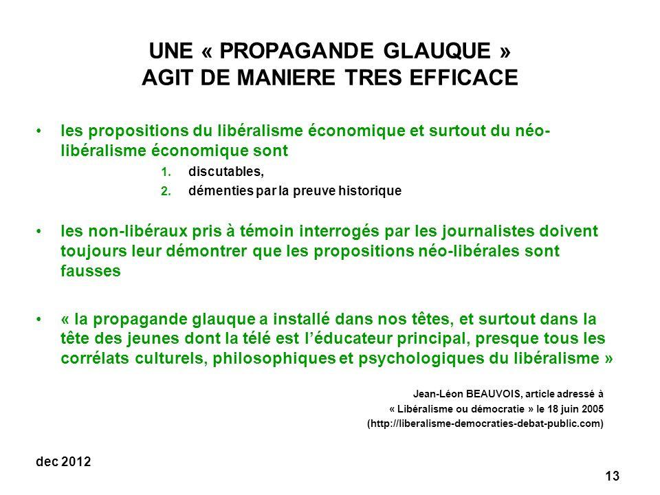 UNE « PROPAGANDE GLAUQUE » AGIT DE MANIERE TRES EFFICACE
