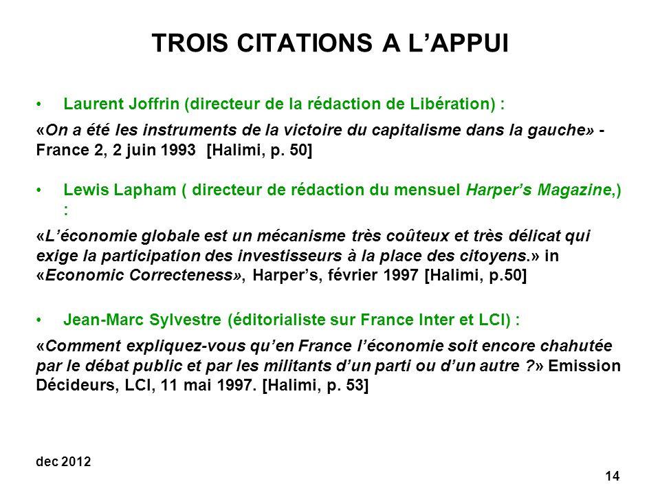 TROIS CITATIONS A L'APPUI