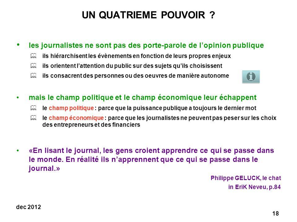 UN QUATRIEME POUVOIR les journalistes ne sont pas des porte-parole de l'opinion publique.