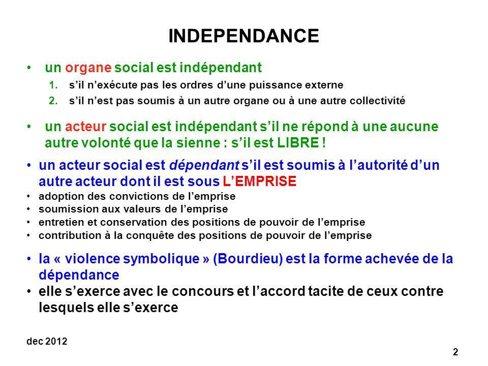 INDEPENDANCE un organe social est indépendant