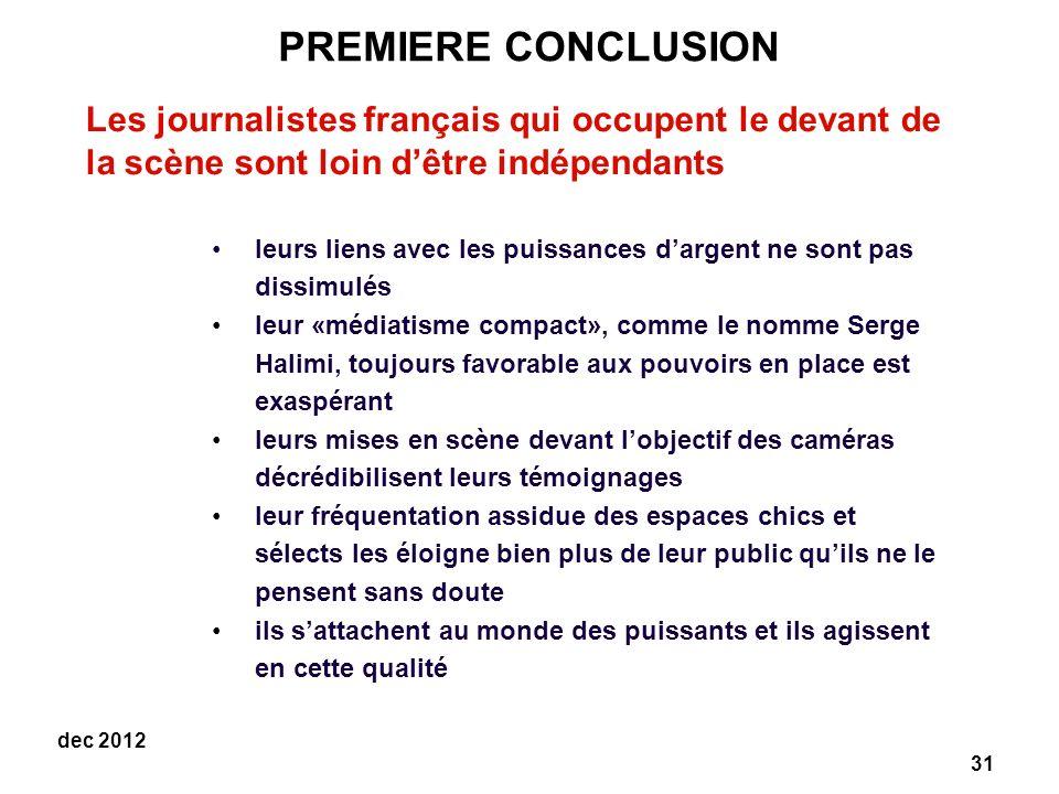 PREMIERE CONCLUSION Les journalistes français qui occupent le devant de la scène sont loin d'être indépendants.