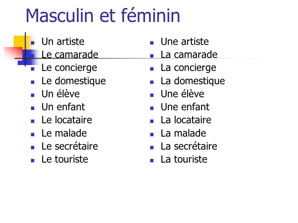 Masculin et féminin Un artiste Le camarade Le concierge Le domestique