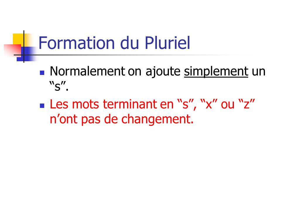 Formation du Pluriel Normalement on ajoute simplement un s .