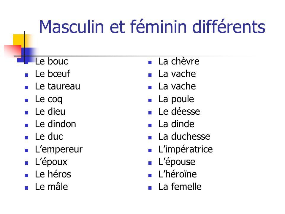 Masculin et féminin différents