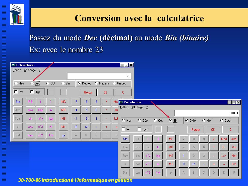 Conversion avec la calculatrice