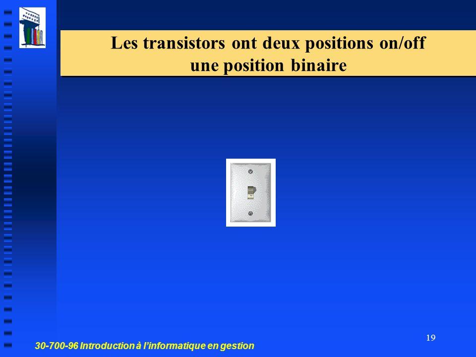 Les transistors ont deux positions on/off une position binaire
