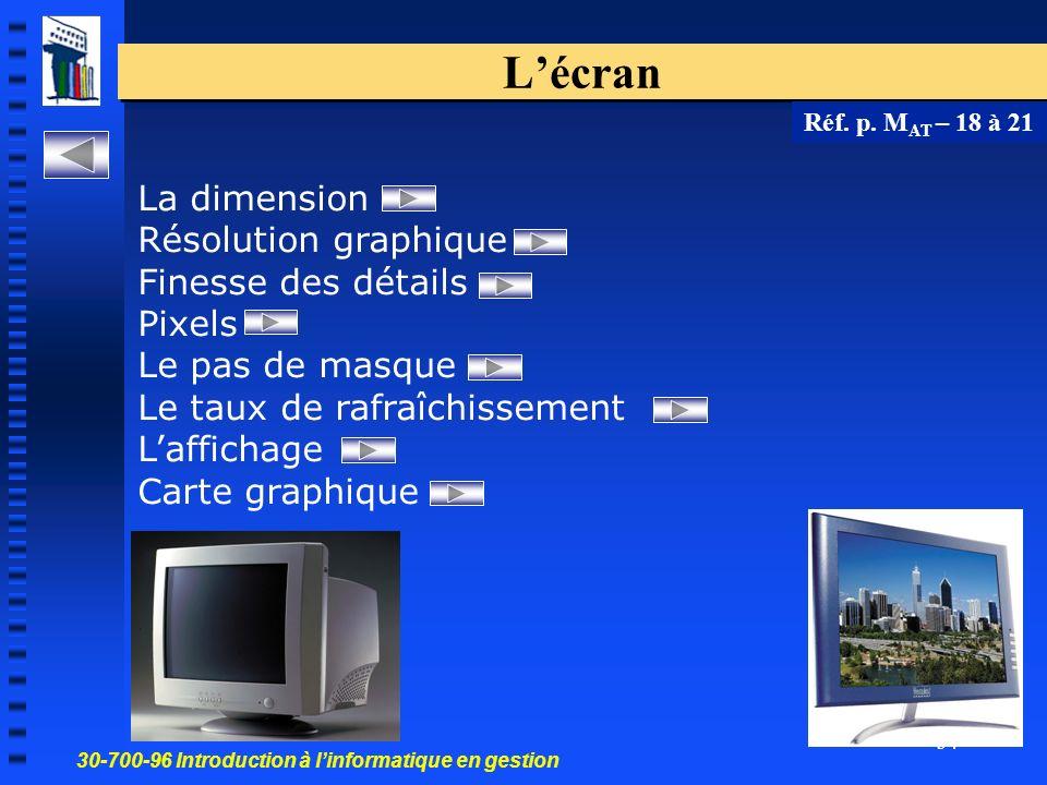 L'écran La dimension Résolution graphique Finesse des détails Pixels