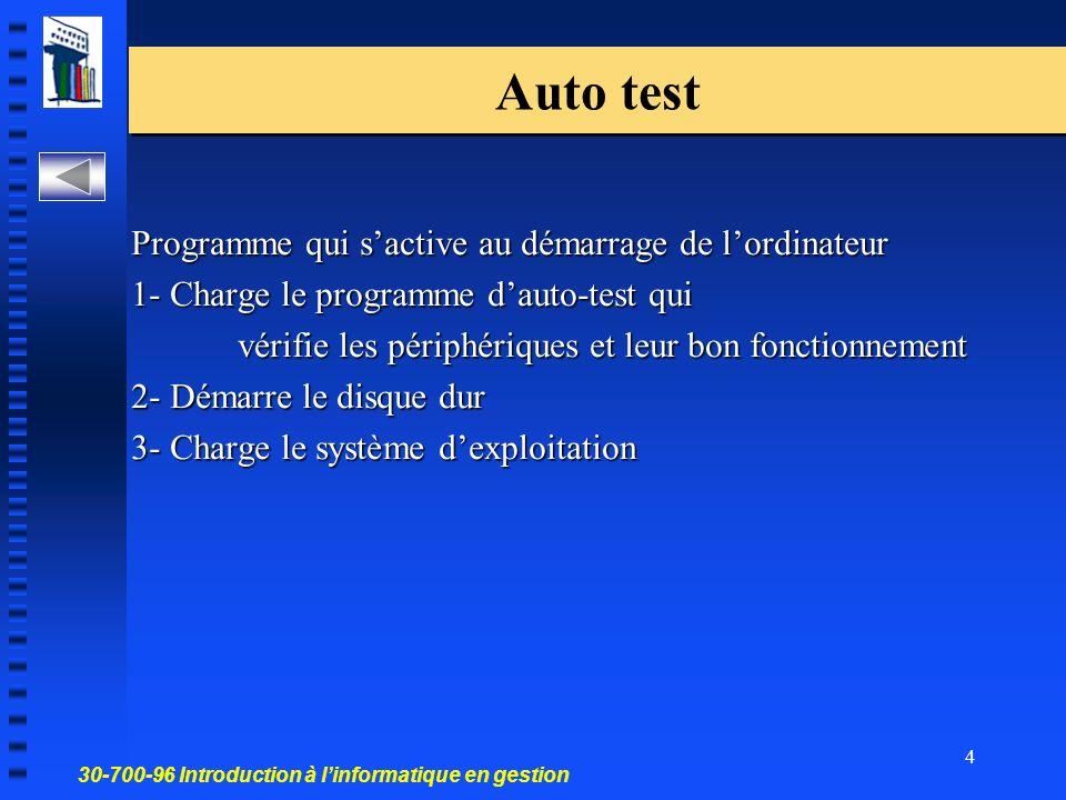 Auto test Programme qui s'active au démarrage de l'ordinateur