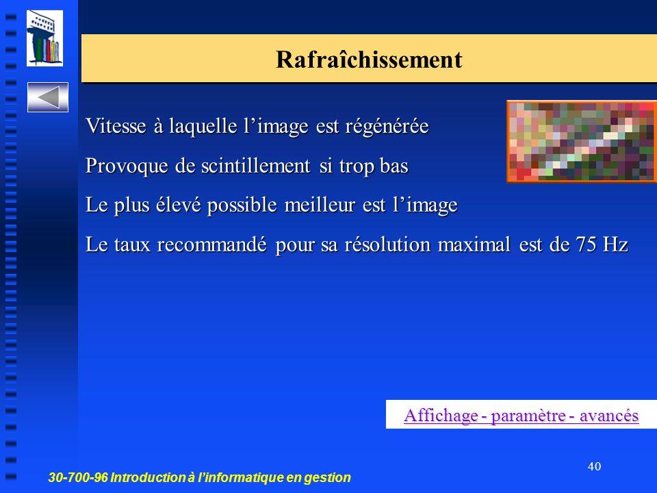 Affichage - paramètre - avancés