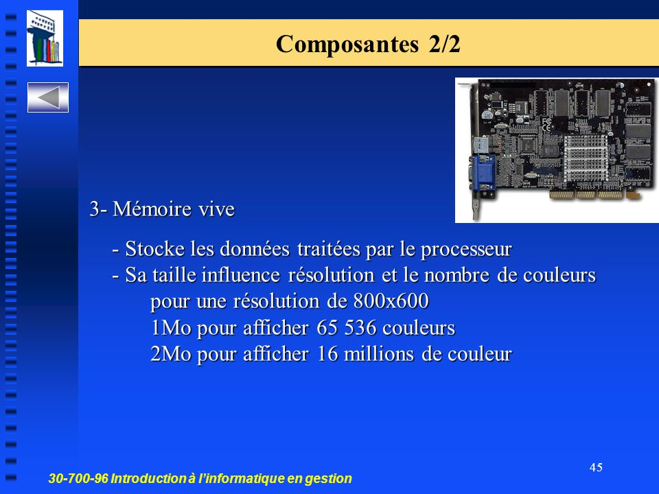 Composantes 2/2 3- Mémoire vive.