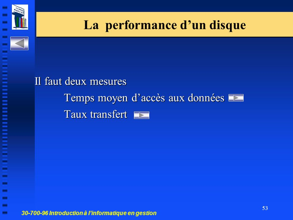 La performance d'un disque