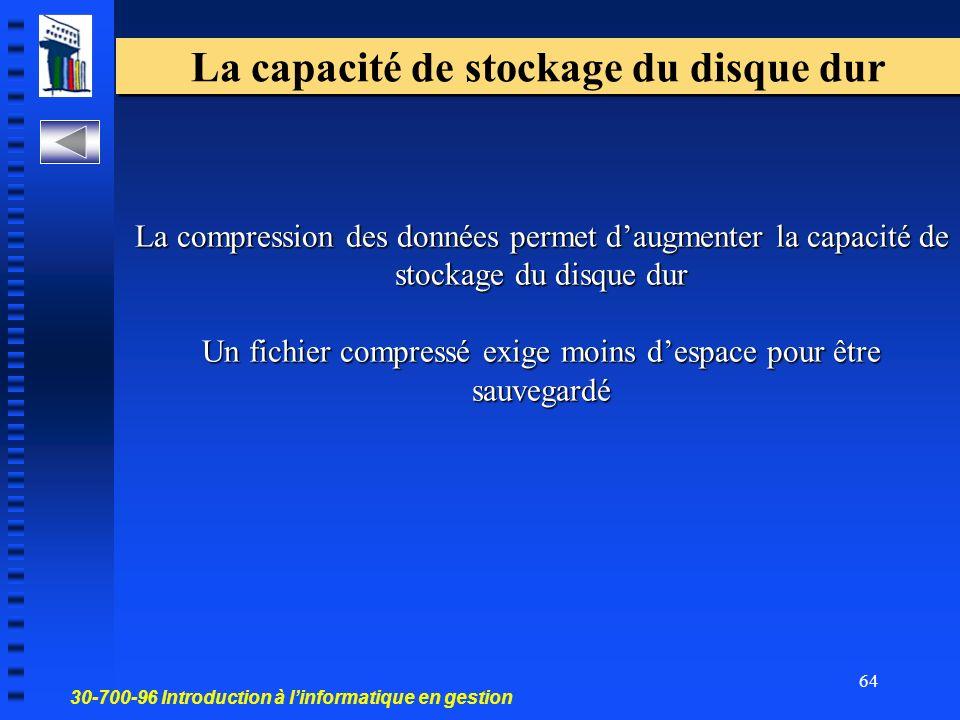 La capacité de stockage du disque dur