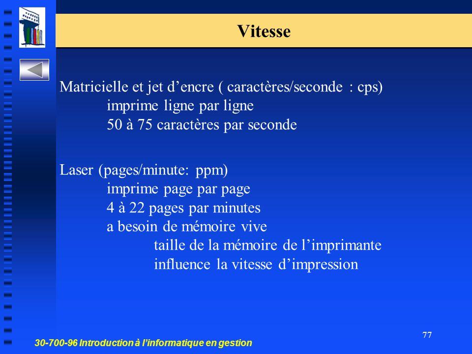 Vitesse Matricielle et jet d'encre ( caractères/seconde : cps) imprime ligne par ligne 50 à 75 caractères par seconde.