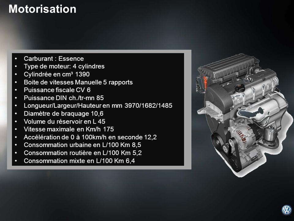 Motorisation Carburant : Essence Type de moteur: 4 cylindres