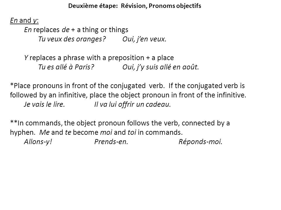 Deuxième étape: Révision, Pronoms objectifs