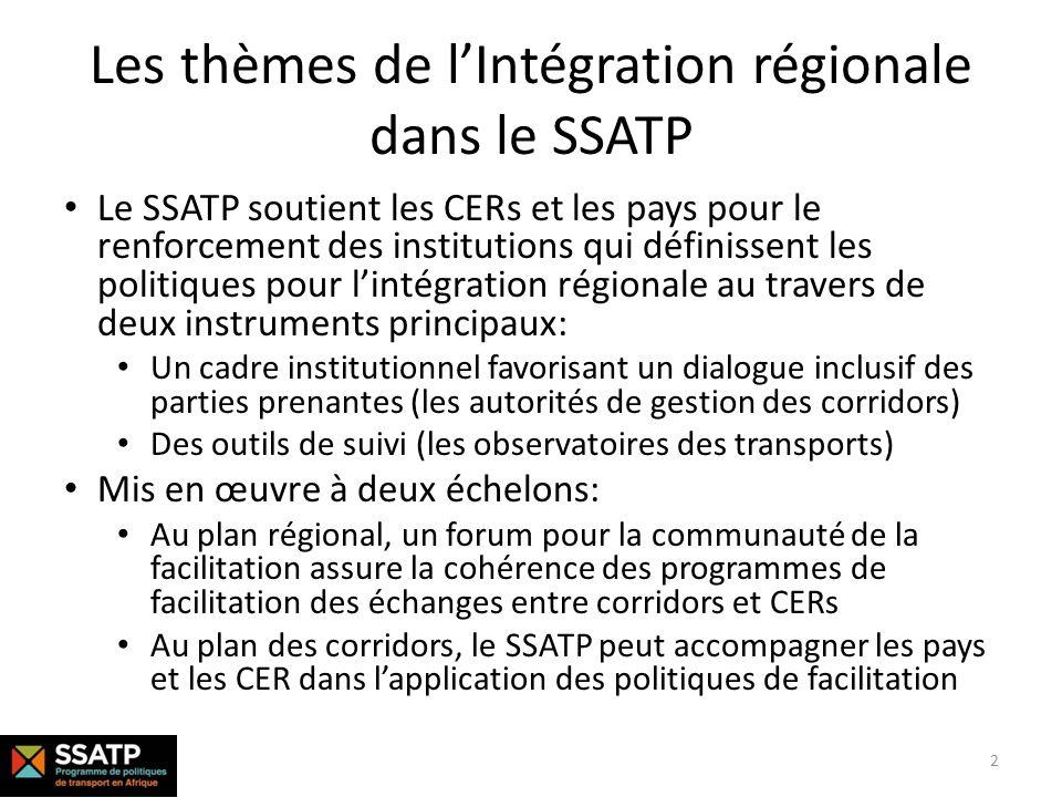 Les thèmes de l'Intégration régionale dans le SSATP