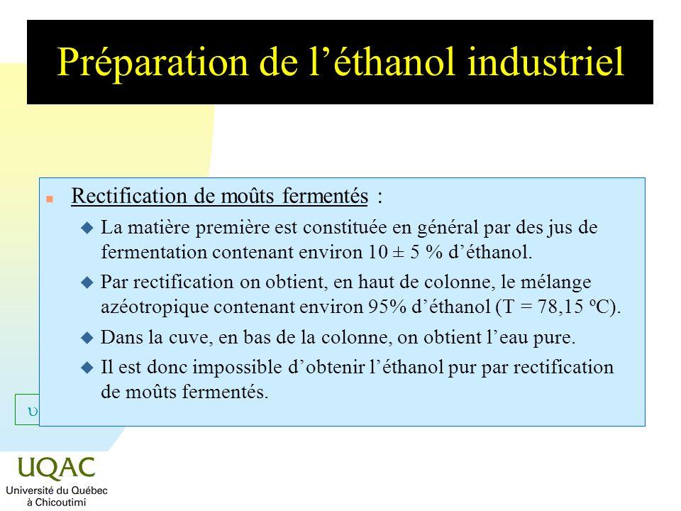 Préparation de l'éthanol industriel