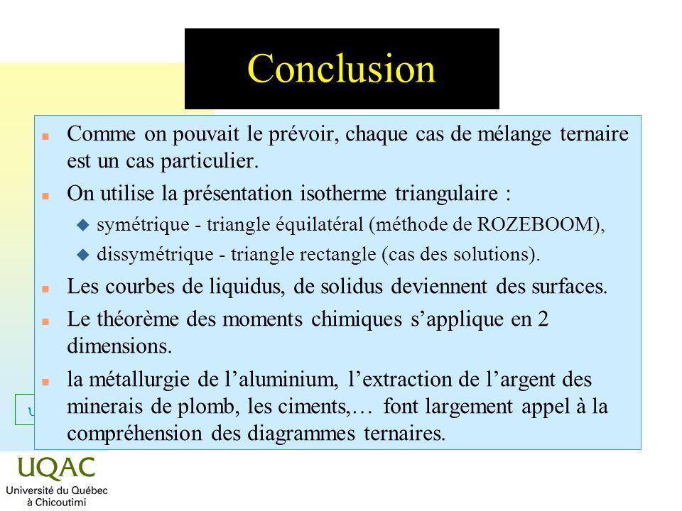 Conclusion Comme on pouvait le prévoir, chaque cas de mélange ternaire est un cas particulier. On utilise la présentation isotherme triangulaire :