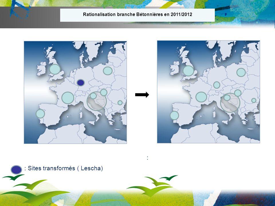 Rationalisation branche Bétonnières en 2011/2012