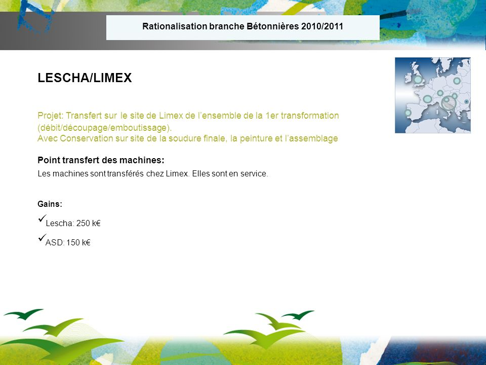 Rationalisation branche Bétonnières 2010/2011
