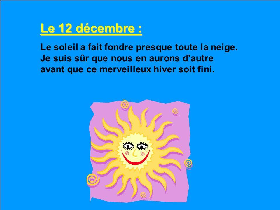 Le 12 décembre : Le soleil a fait fondre presque toute la neige.