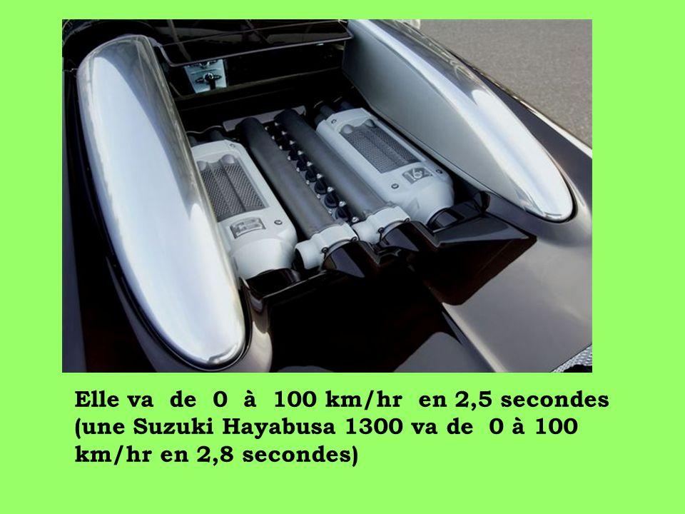 Elle va de 0 à 100 km/hr en 2,5 secondes (une Suzuki Hayabusa 1300 va de 0 à 100 km/hr en 2,8 secondes)