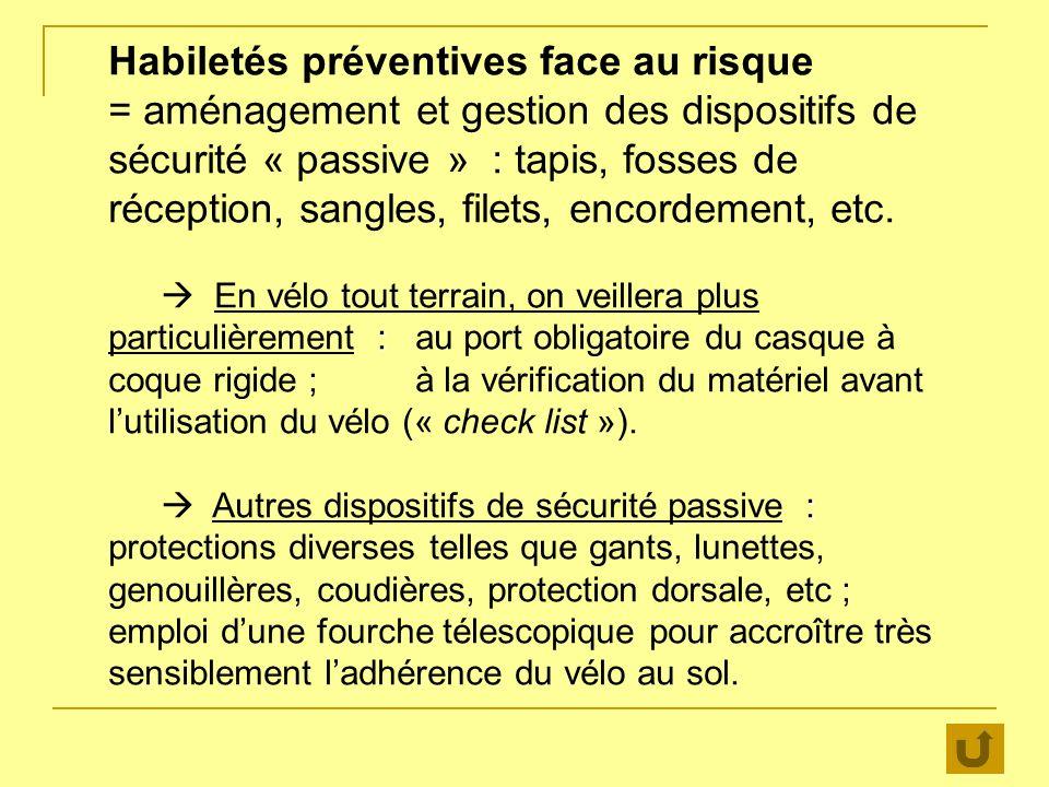 Habiletés préventives face au risque = aménagement et gestion des dispositifs de sécurité « passive » : tapis, fosses de réception, sangles, filets, encordement, etc.